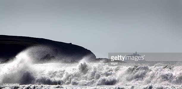 south bishop lighthouse and storm from whitesands bay, pembrokeshire, wales - st davids stock pictures, royalty-free photos & images
