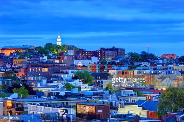 sur de boston en el crepúsculo - massachusetts fotografías e imágenes de stock