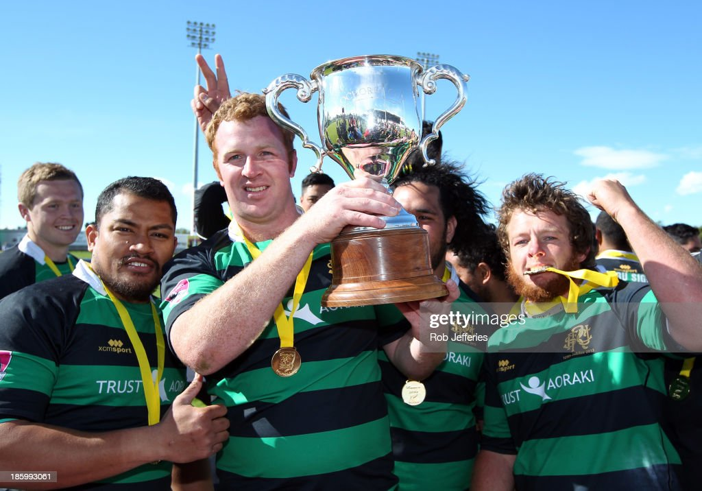 South Canterbury captain Andrew Scarlett and his team-mates hold aloft the Lochore Cup after defeating Buller in the final of the Lochore Cup Final match between South Canterbury and Buller at Alpine Energy Stadium on October 27, 2013 in Timaru, New Zealand.
