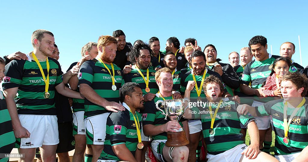 South Canterbury celebrate winning the Lochore Cup Final between South Canterbury and Buller at Alpine Energy Stadium on October 27, 2013 in Timaru, New Zealand.
