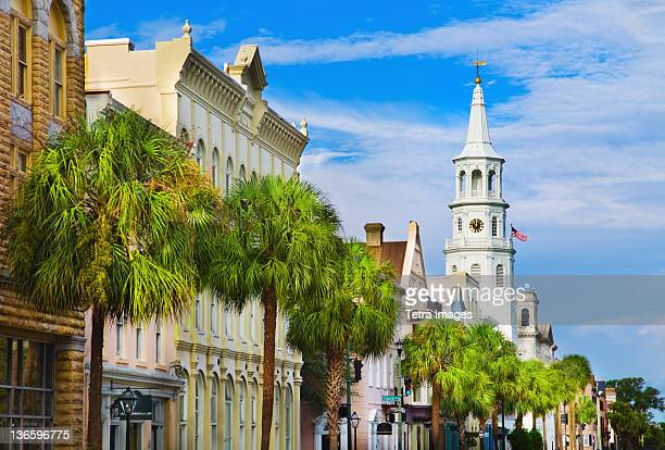usa, south carolina, charleston, church street, st. philip's church - template_talk:south_carolina stock pictures, royalty-free photos & images