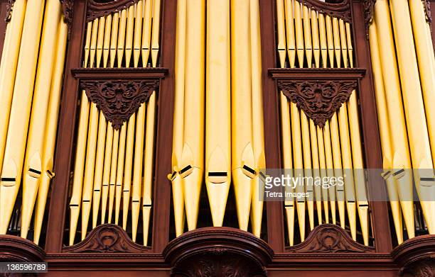 USA, South Carolina, Charleston, Close up of church pipe organs