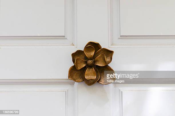 usa, south carolina, charleston, close up of door knocker in shape of flower - door knocker stock photos and pictures