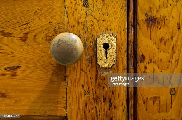 USA, South Carolina, Charleston, Close up of doorknob and keyhole