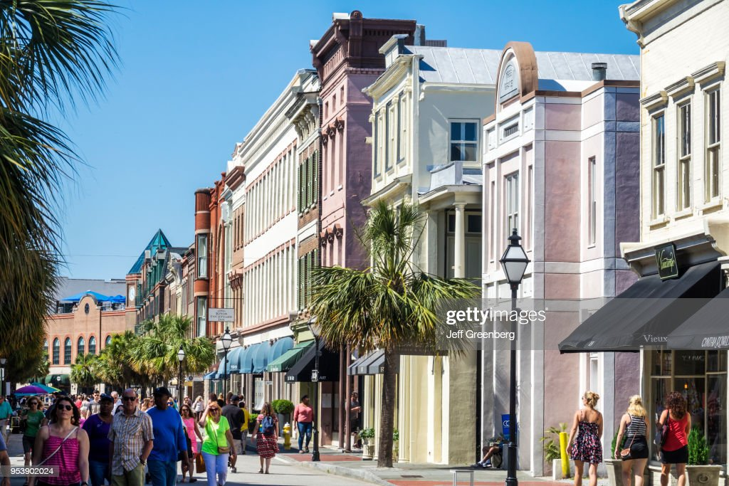 South Carolina, Charleston, Historic Downtown, 2nd Sunday on King Street, busy street festival : News Photo