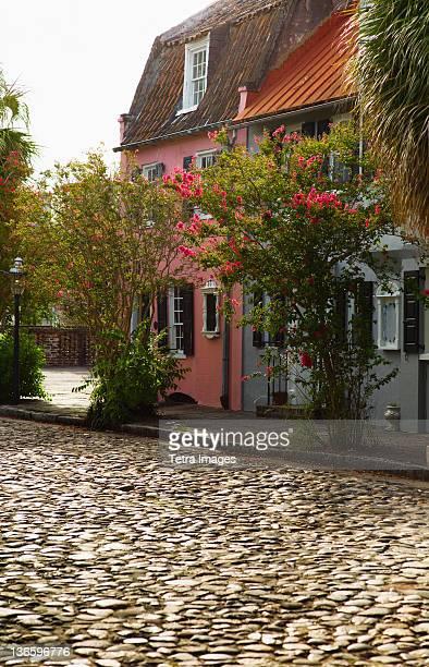 USA, South Carolina, Charleston, Old cobblestone street