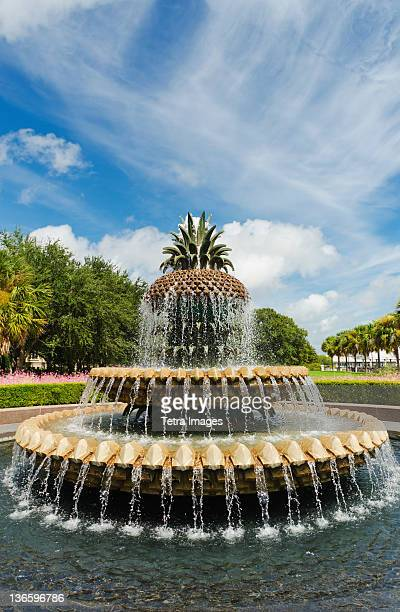 usa, south carolina, charleston, waterfront park, pineapple fountain - template_talk:south_carolina stock pictures, royalty-free photos & images