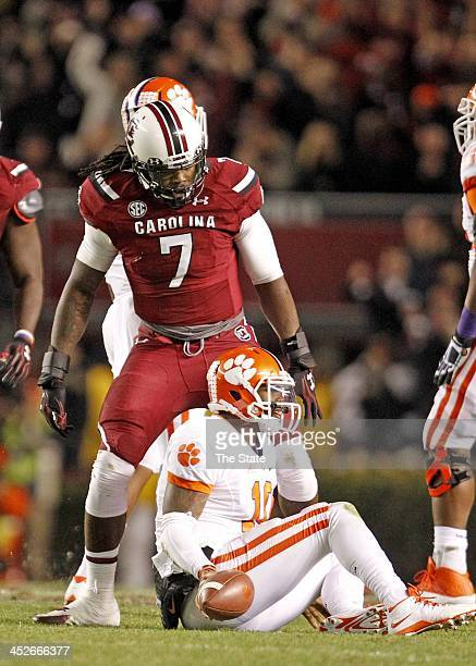 South Carolina defensive end Jadeveon Clowney reacts after sacking Clemson quarterback Tajh Boyd in the second quarter at Williams-Brice Stadium in...