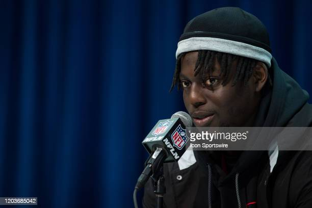 South Carolina defensive lineman Javon Kinlaw answers questions from the media during the NFL Scouting Combine on February 27 2020 at the Indiana...
