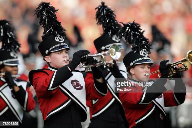 South Carolina Gamecocks band members perform prior to the game against the Louisiana-Lafayette Rajin' Cajuns at Williams-Brice Stadium on September...