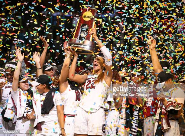 South Carolina Gamecocks forward A'ja Wilson holds the trophy after South Carolina defeated Mississippi State 6755 to win the NCAA Women's Basketball...