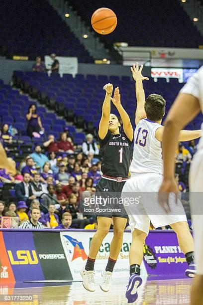 South Carolina Gamecocks guard Bianca CuevasMoore shoots the ball during an NCAA women's basketball between the South Carolina Gamecocks and the LSU...