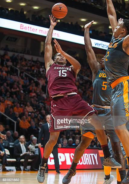 South Carolina Gamecocks guard PJ Dozier takes a shot during a game between the South Carolina Gamecocks and Tennessee Volunteers on January 11 at...