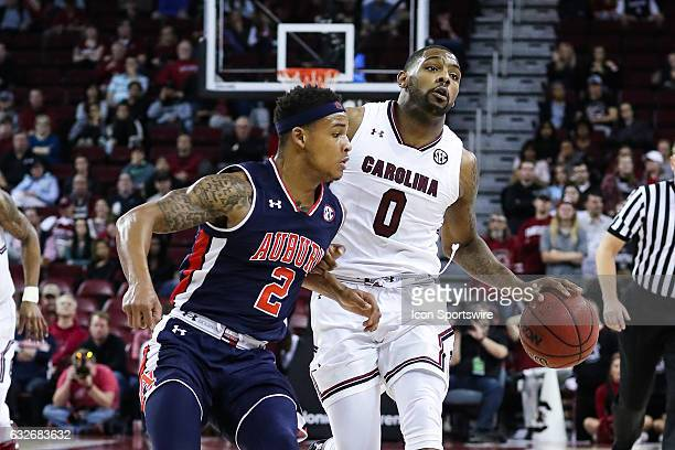 South Carolina Gamecocks guard Sindarius Thornwell works the ball up court against Auburn Tigers guard Bryce Brown during the second half on January...