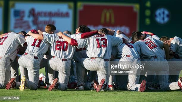 South Carolina Gamecocks players huddle before a college baseball game between the South Carolina Gamecocks and LSU Tigers on May 6 2017 at Alex Box...