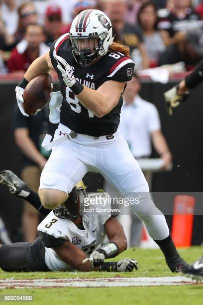 South Carolina Gamecocks tight end Hayden Hurst runs during SEC play on October 28 2017 between the Vanderbilt Commodores and the South Carolina...