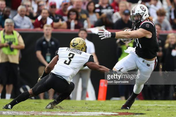 South Carolina Gamecocks tight end Hayden Hurst tries to elude Vanderbilt Commodores cornerback Taurean Ferguson during SEC play on October 28 2017...