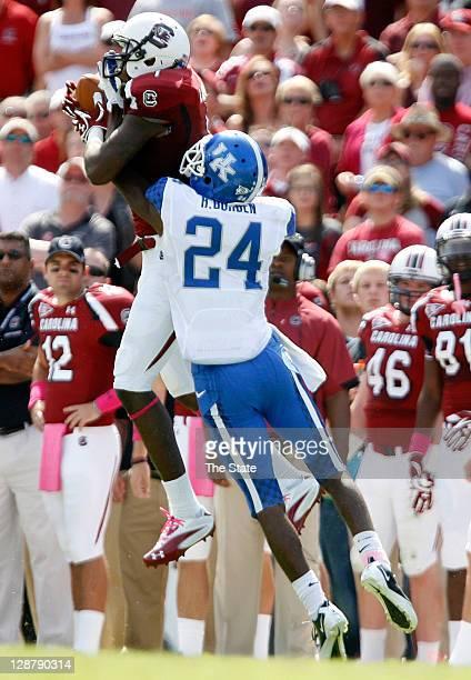 South Carolina Gamecocks wide receiver Alshon Jeffery catches a pass from South Carolina Gamecocks quarterback Connor Shaw as Kentucky Wildcats...