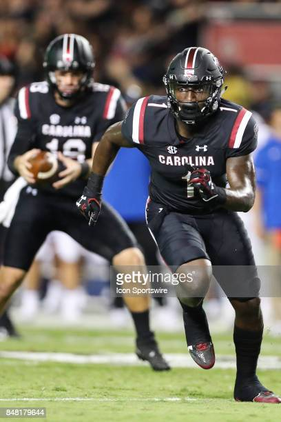 South Carolina Gamecocks wide receiver Deebo Samuel breaks on his route while quarterback Jake Bentley steps back to throw during the second half...