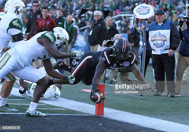 South Carolina Gamecocks wide receiver Deebo Samuel dives into the end zone for the touchdown during the 2016 Birmingham Bowl between the South...