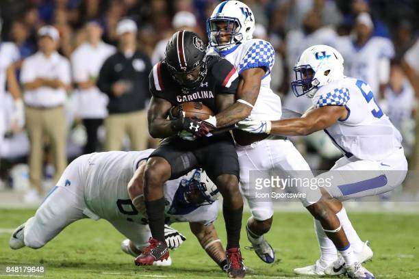 South Carolina Gamecocks wide receiver Deebo Samuel is wrapped up by Wildcat defenders during the second half between the South Carolina Gamecocks...