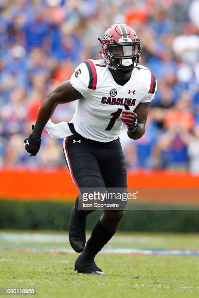 South Carolina Gamecocks wide receiver Deebo Samuel runs a route during the game between the South Carolina Gamecocks and the Florida Gators on...