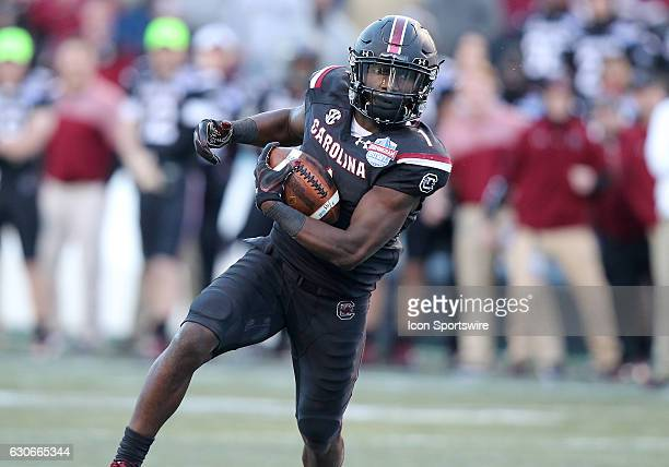 South Carolina Gamecocks wide receiver Deebo Samuel runs for a first down during the 2016 Birmingham Bowl between the South Carolina Gamecocks and...