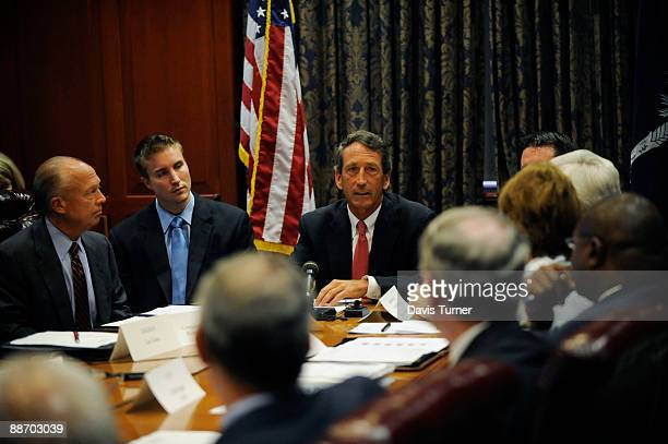 South Carolina Gov Mark Sanford speak to his Cabinet during a special meeting in the Governor's Conference Room in the Wade Hampton Building at the...