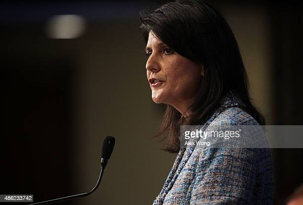 South Carolina Governor Nikki Haley addresses a Newsmaker Luncheon at the National Press Club September 2 2015 in Washington DC Governor Haley spoke...
