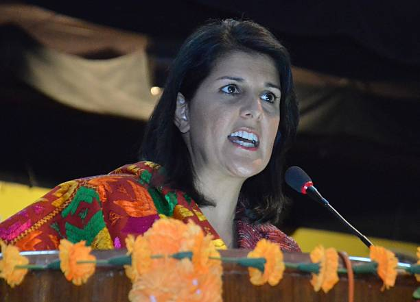 South Carolina Governor Nikki Haley addressing to students at Guru Nanak Dev University on November 15 2014 in Amritsar India Haley said she wanted...