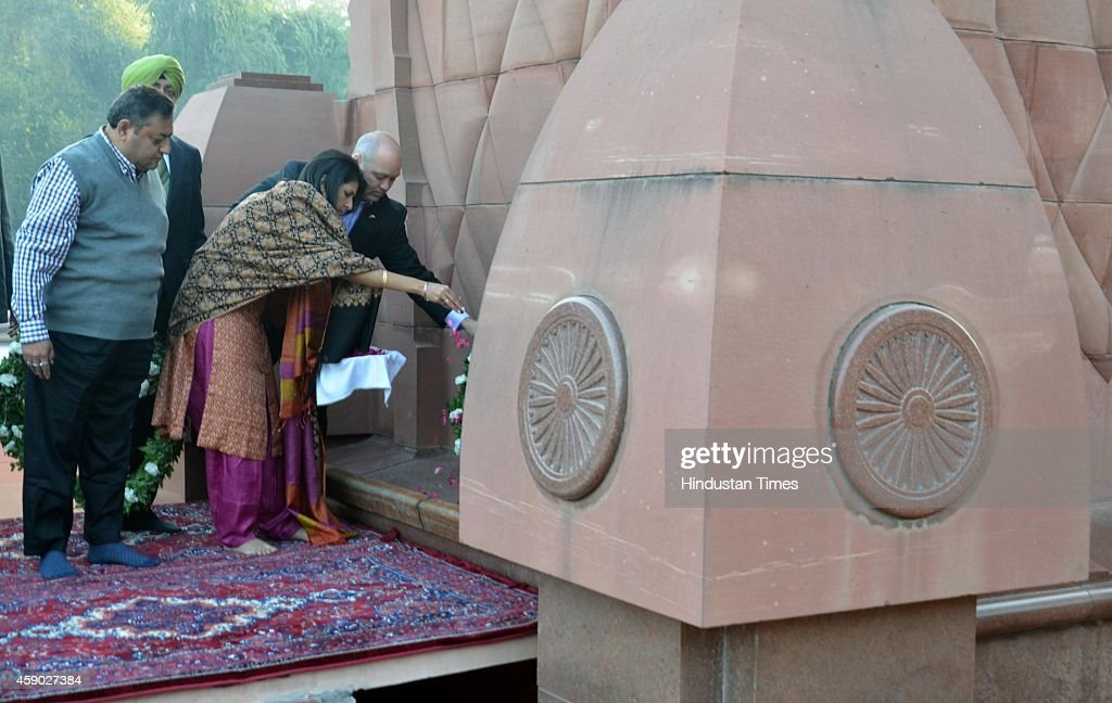 South Carolina Governor Nikki Haley along with her husband Michael Haley lay a wreath as they pay tribute to martyrs at Jallianwala Bagh on November..