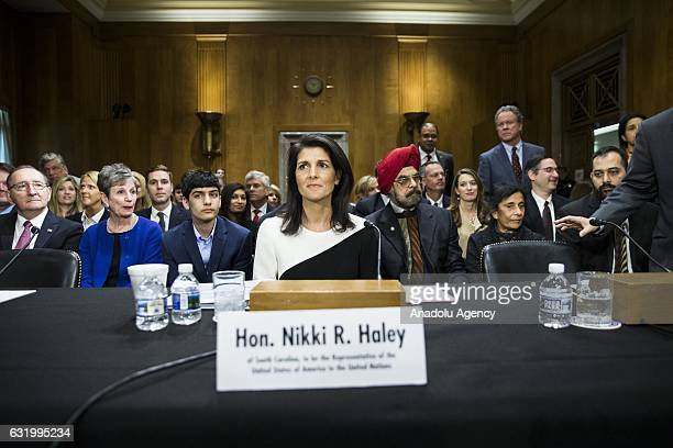 South Carolina Governor Nikki Haley arrives to testify before the Senate Foreign Relations Committee during her confirmation hearing where they are...