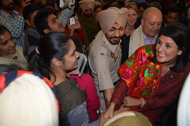 South Carolina Governor Nikki Haley meets students at Guru Nanak Dev University on November 15 2014 in Amritsar India Haley said she wanted to...