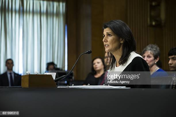 South Carolina Governor Nikki Haley testifies before the Senate Foreign Relations Committee during her confirmation hearing where they are...