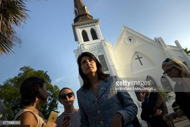 South Carolina Governor Nikki Haley waits to speak to press outside the Emanuel AME Church June 19, 2015 in Charleston, South Carolina. US police...