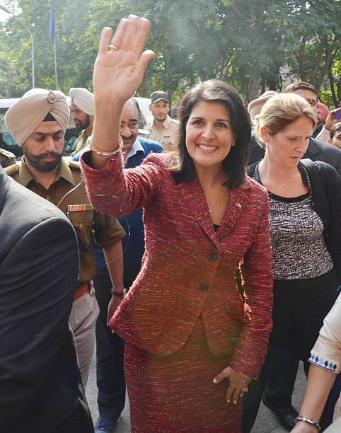 South Carolina Governor Nikki Haley waves to students at Guru Nanak Dev University on November 15 2014 in Amritsar India Haley said she wanted to...