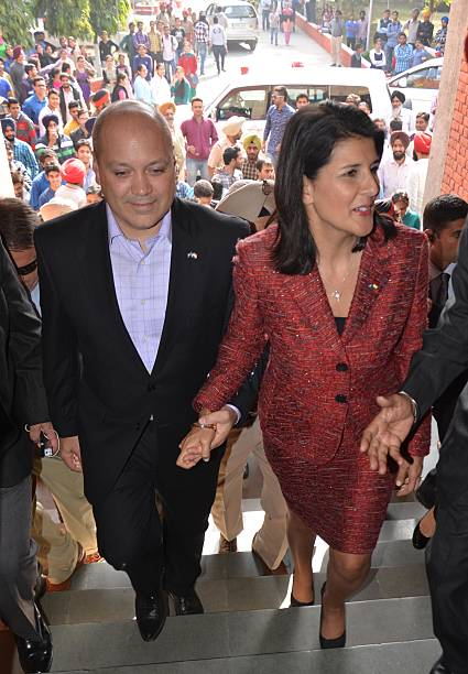 South Carolina Governor Nikki Haley with husband Michael Haley at Guru Nanak Dev University on November 15 2014 in Amritsar India Haley said she...
