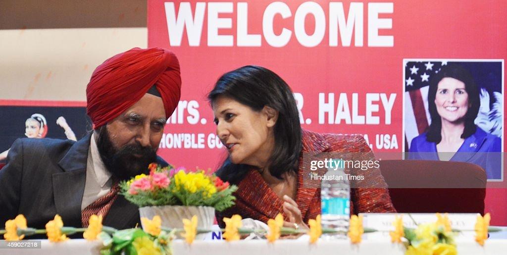 South Carolina Governor Nikki Haley with ViceChancellor AS Brar at Guru Nanak Dev University on November 15 2014 in Amritsar India Haley said she...