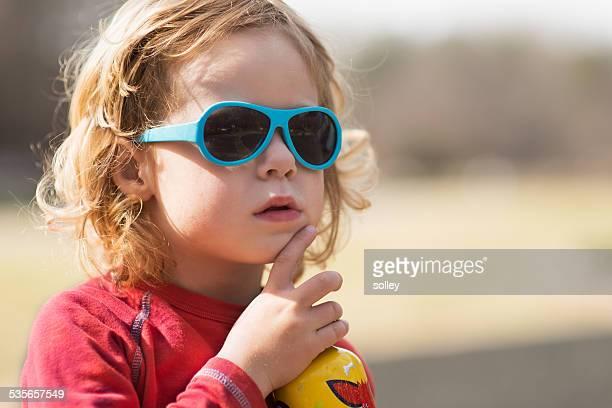 USA, South Carolina, Greenville County, Greenville, Boy (2-3) with sunglasses