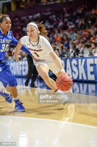 South Carolina guard Bianca Cuevas Moore dribbles past Kentucky guard Jaida Roper during 2nd half action in the SEC Women's Championship semi final...