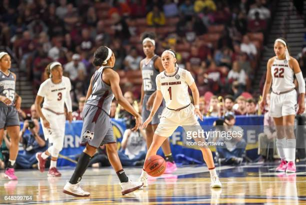 South Carolina guard Bianca Cuevas Moore guards Mississippi St guard Morgan William during 2nd half action in the 2017 SEC Championship game South...