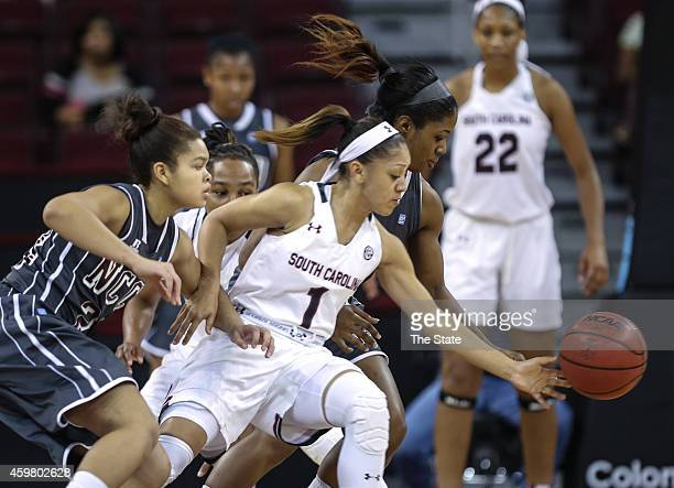South Carolina guard Bianca Cuevas swipes the ball from North Carolina Central guard Khyra Conerly during the second half on Monday Dec 1 at Colonial...