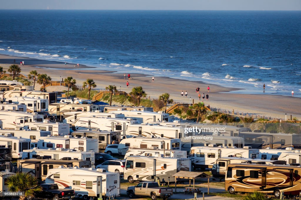 South Carolina Myrtle Beach Rv Travel Park Aerial View Of Campground Near Ocean