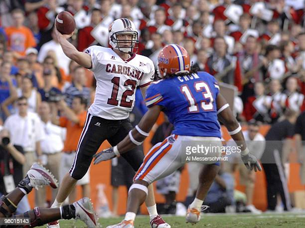 South Carolina quarterback Blake Mitchell during a game between Florida and South Carolina at Ben Hill Griffith Stadium in Gainsville Florida on...