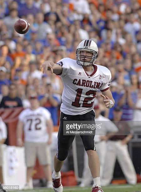 South Carolina quarterback Blake Mitchell releases a pass against Florida Nov 11 2006 in Gainesville Florida won 17 16