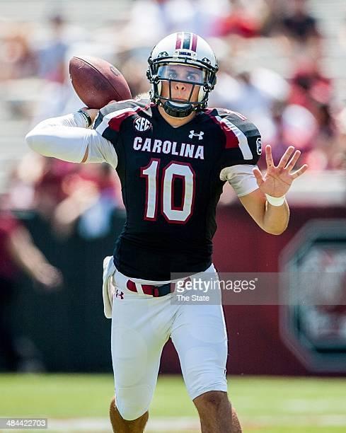 South Carolina quarterback Perry Orth passes in the third quarter of the Garnet Black spring football game at WilliamsBrice Stadium in Columbia SC...