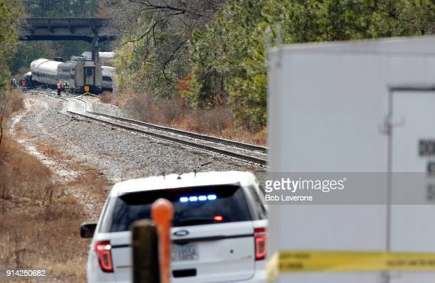 South Carolina State Police keep the media away from the investigation scene where two trains collided early Sunday morning on February 4 2018 in...