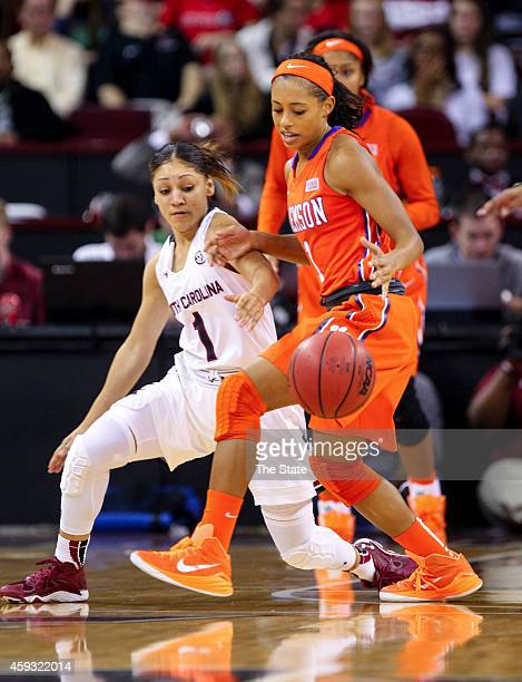 South Carolina's Bianca Cuevas left taps the ball away from Clemson's Tiffany Lewis during the second half at the Colonial Life Arena in Columbia SC...
