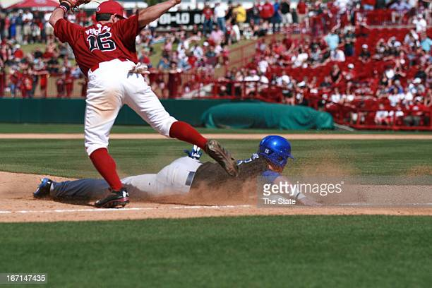 South Carolina's Chase Vergason tags out Kentucky's Jeff Boehm at third base to end the game in Columbia South Carolina Sunday April 21 2013 South...