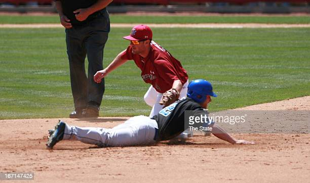 South Carolina's Joey Pankake tags out Kentucky's Zac Zellers at first base during a men's college baseball game in Columbia South Carolina Sunday...